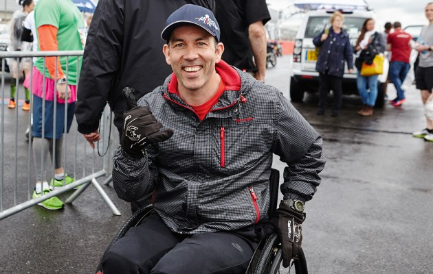 Martyn Ashton gets ready for the Wings for Life World Run in Silverstone, UK on May 3, 2015.