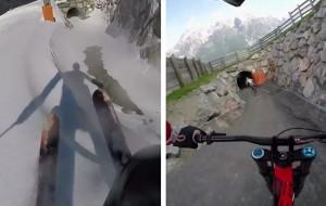 Claudio skiing