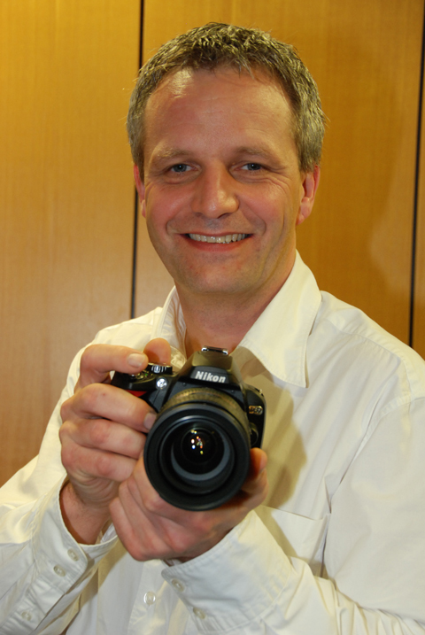 Nikon UK's group marketing manager Jeremy Gilbert with the D60