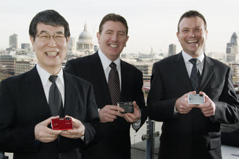 From left to right: General Imaging Europe?s managing director Yasuhisa Nishida, pictured alongside Gary Banks, commercial director for Europe, and Gary Sutton, UK Country Manager for General Imaging Europe at this morning's press launch in central London