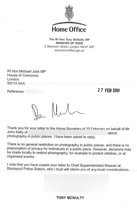 Letter from Home Office Minister