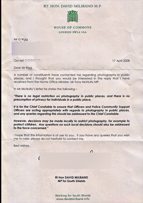 Letter from Miliband to photographer