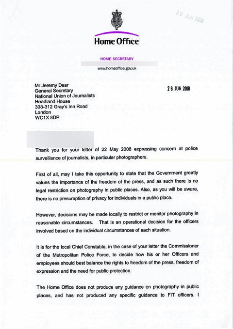 Home Secretary letter