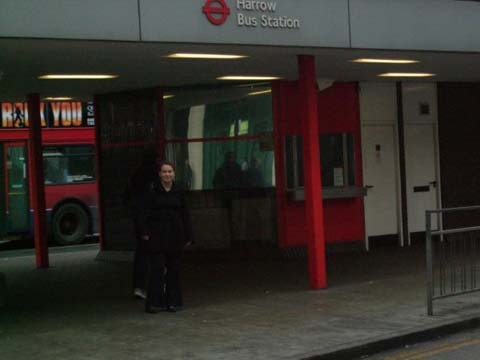 Dr Rachel Joyce outside Harrow bus station