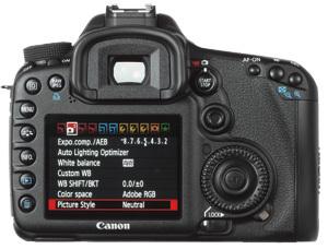 Canon EOS 7D LCD screen