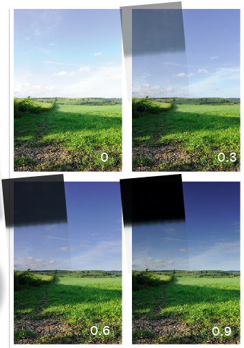 Images taken with different densitys of graduated neutral density filters