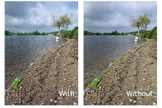 Image taken with a Tiffen 4x4in 0.6 ND grad (soft) filter versus one taken without a filter