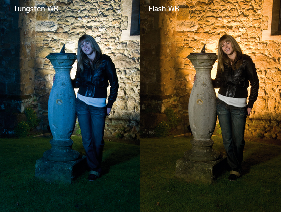 Night time portrait with flash setting the white balance to tungsten vs setting to flash