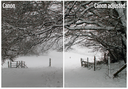 Canon metering - sample image of a snowy scene. Original image and adjusted image