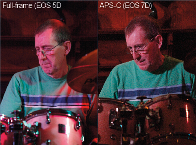 Canon 5d vs Canon 7d - matching composition. There are essentially two ways of matching the framing of images when shooting with APS-C-format and full-frame cameras. The first is to have greater distance between the subject and the APS-C-format camera than with the full-frame model. The second is to adjust the focal length so that the effective angle of view is the same on both cameras. I used both of these approaches during this test to produce comparable images.