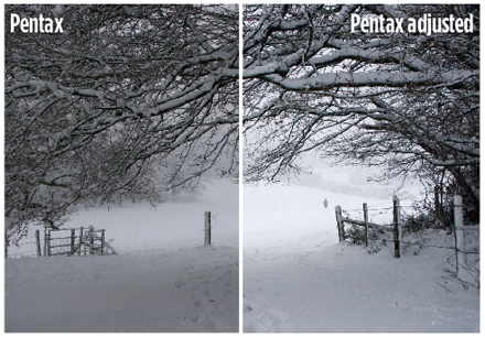 Pentax metering - sample image of a snowy scene. Original image and adjusted image