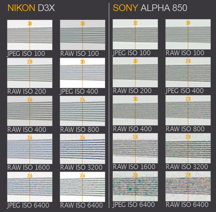 Nikon D3x vs Sony Alpha 850 resolution charts. These images show 72ppi sections of images of a resolution chart, captured using matching 105mm macro lenses. We show the section of the resolution chart where the camera starts to fail to reproduce the lines separately. The higher the number visible in these images, the better the camera