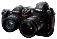 Nikon D3x and Sony Alpha 850 cameras