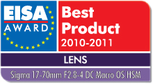 EISA Award Best Product 2010-2011: Best European Lens 2010-2011 Winner: Sigma 17-70mm f/2.8-4 DC Macro OS HSM