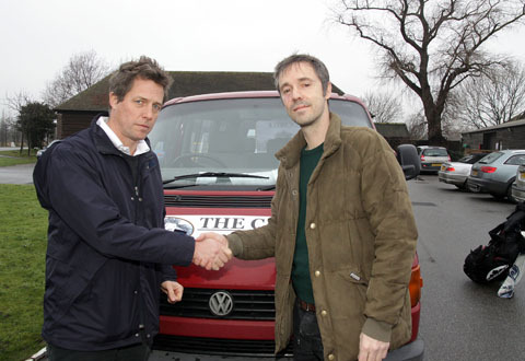 Hugh Grant with Paul McMullan