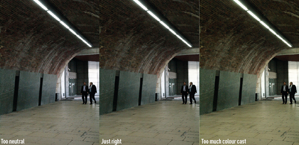 Different types of lighting have a slight green or purple tint, leaving this tint results in the image on the far right, which has too much green. Removing it completely results in the image on the far left which has lost some atmosphere. The middle image is preferable, which keeps some tint without it dominating the image.