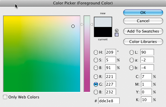 Warm card settings - Colour picker (foregrround colour)