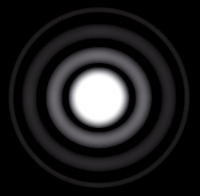 Airy disk. With its glowing outer edges, the bright image circle is known as an Airy disc, named after George Airy