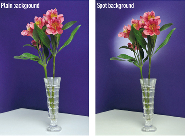 Lighting - backgrounds. Shooting against a plain background vs a spot background