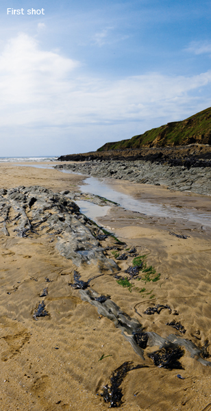 Saunton headland rocks - The rocks draw the eye into this scene, but the sun is too high in the sky