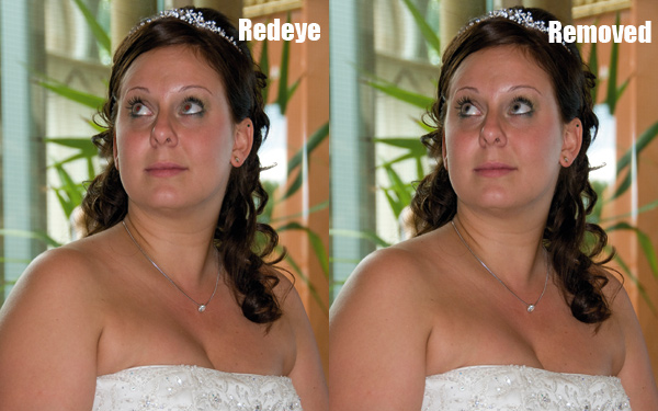 Removing redeye, before and after shots of an image edited in software to remove redeye