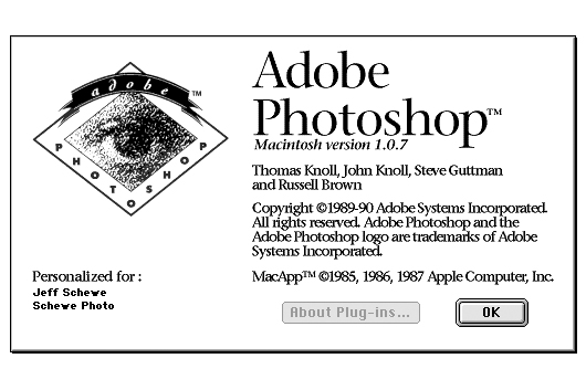 Adobe Photoshop 1.0 splashscreen
