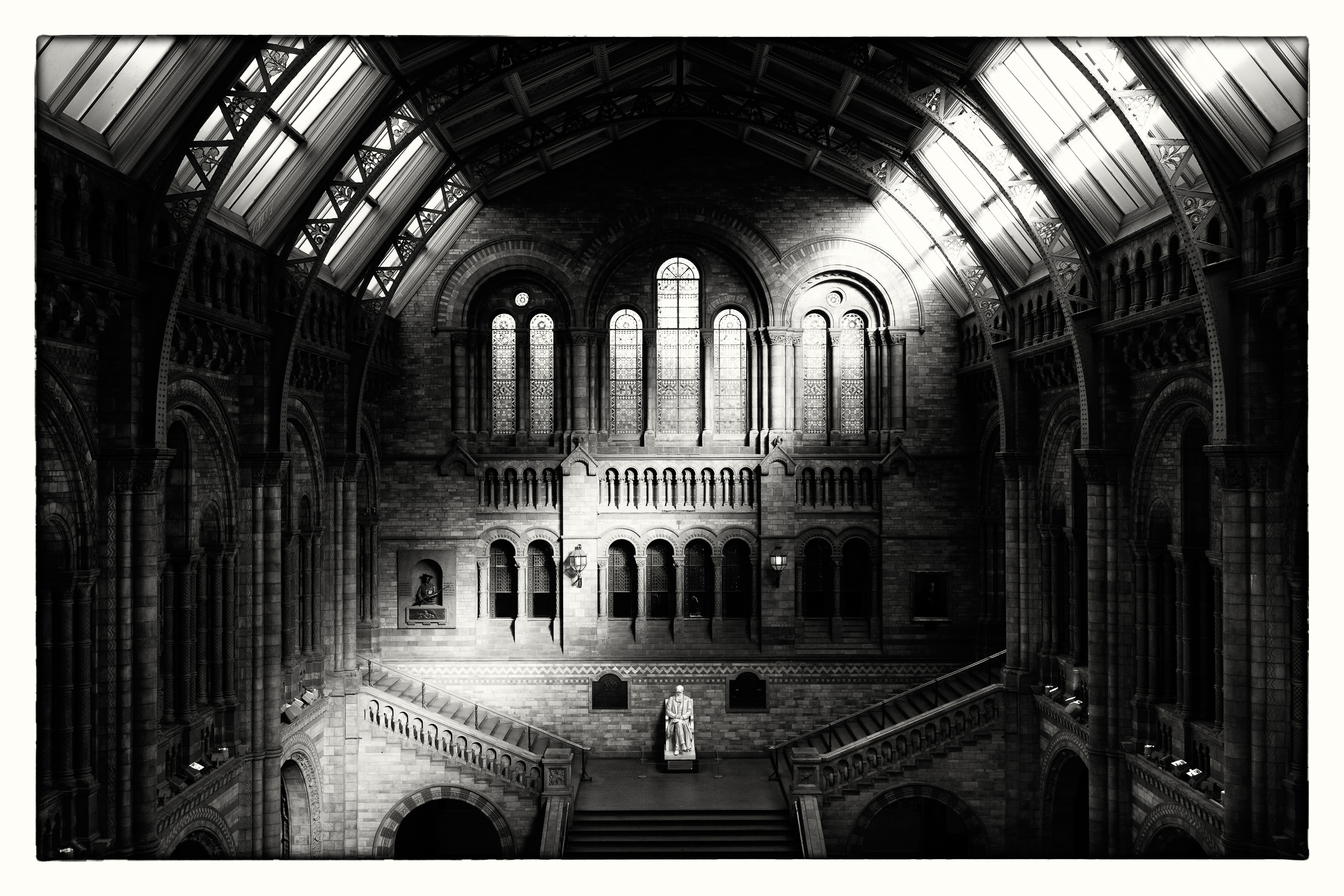 Sepia tone was used to warm up this architectural shot