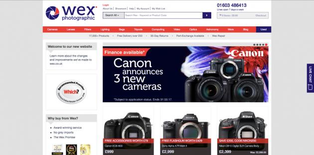 Wex Photographic homepage