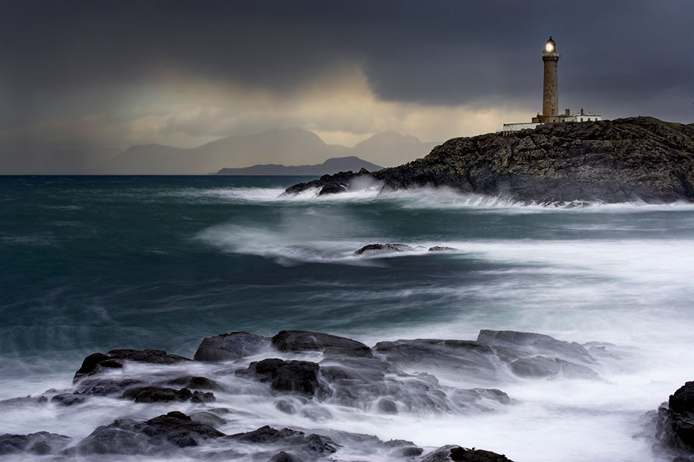Low-light Ardnamurchan lighthouse, scotland