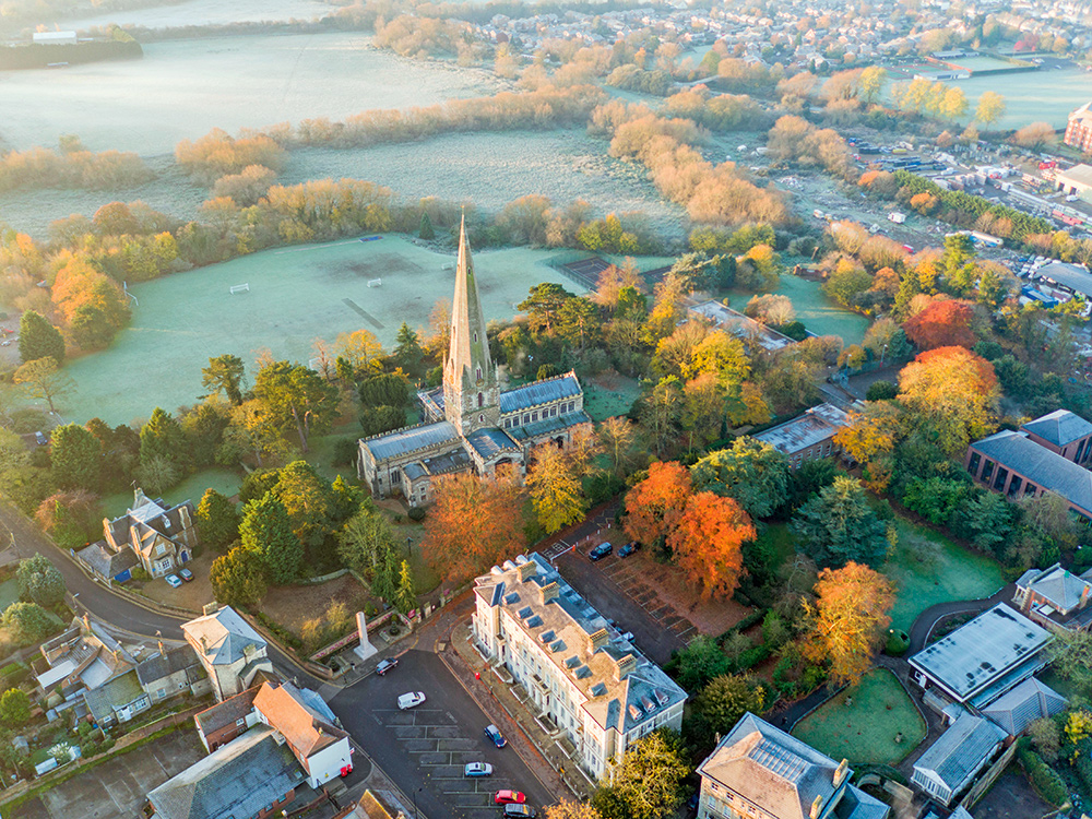 Drone photography All saints church, Leighton Buzzard