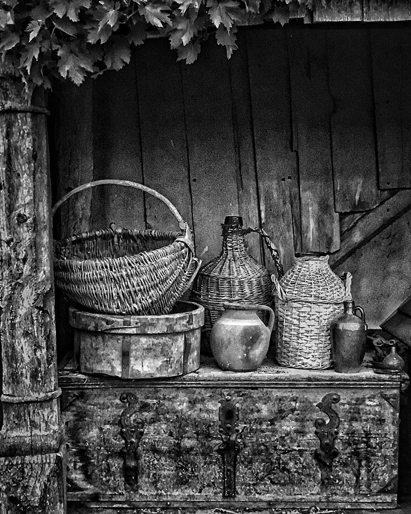 Still life objects in garden