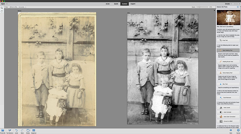 Photoshop Elements guided edit