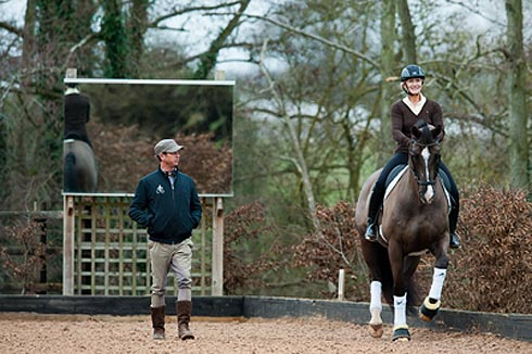 Carl Hester teaches Lucinda Green on Valegro
