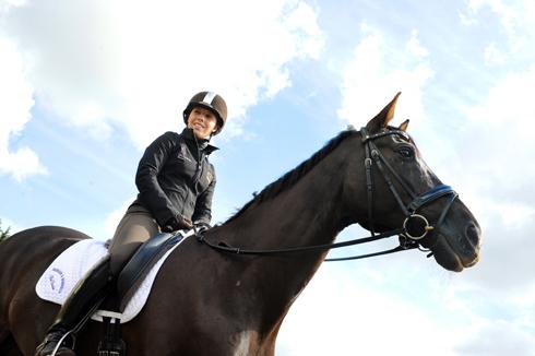 Sophie Wells riding Valerius at home