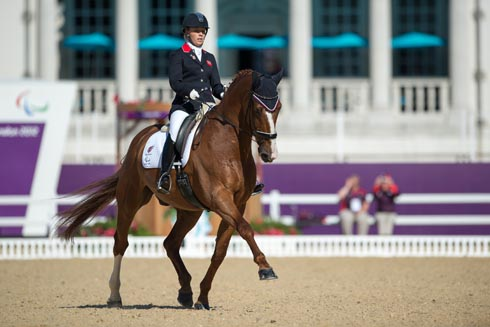 Sophie Wells (Grade IV) riding Pinocchio in the team test at the London 2012 Paralympic Games