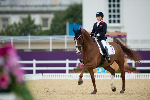 Sophie Wells (Grade IV) riding Pinocchio in the individual test at the London 2012 Paralympic Games