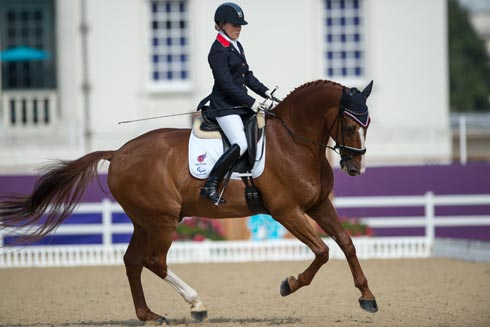 Sophie Wells riding Pinocchio in Individual Freestyle Grade IV at London 2012 Paralympics