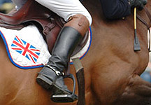 British flag on a showjumpers saddlecloth