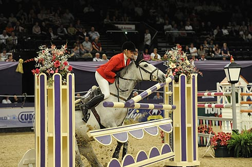 Ellen Whitaker experiences a refusal at Horse of the Year Show