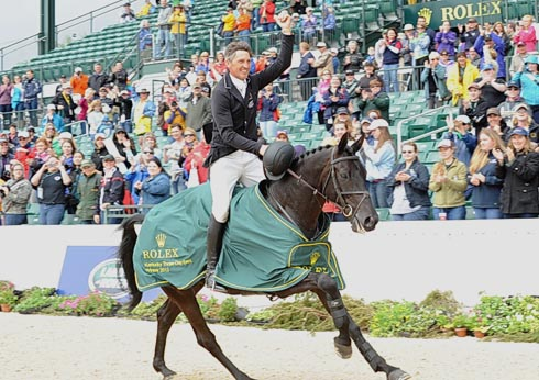 Andrew Nicholson and Quimbo on their lap of honour Rolex Kentucky three-day event. Photo by Nancy Jaffer