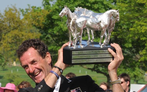 Mark Todd with the Badminton Horse Trials winners trophy