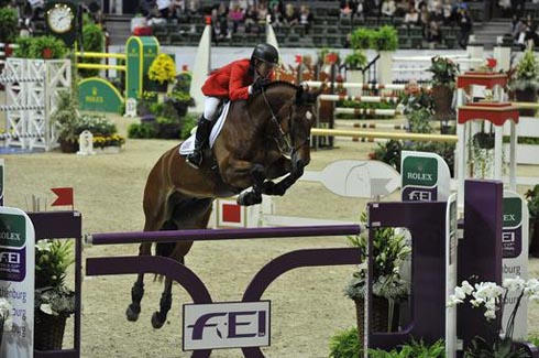 Beezie Madden riding Simon at the FEI World Cup Jumping Final (round one)