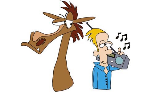 Cartoon horse and owner listening to music