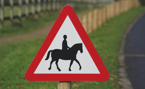 Road sign warning of horse riders