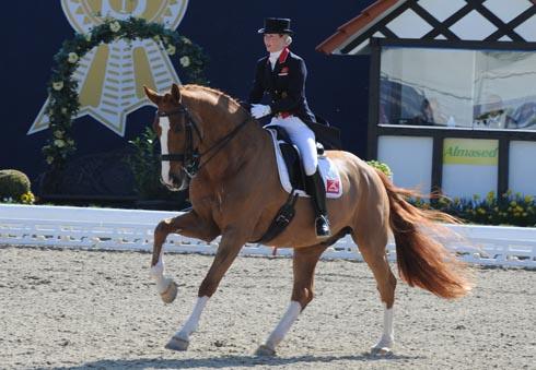 Laura Tomlinson (nee Bechtolsheimer) riding Mistral Hojris (Alf) in Hagen