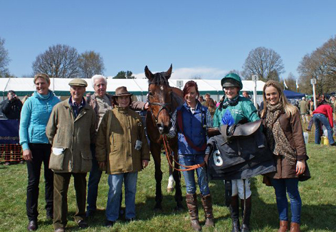 Point-to-point winner Peplum with his connections, including trainer Tina Cook. Photo by Jeannie Knight