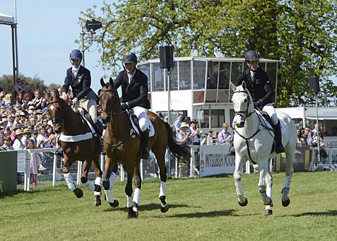 Headley Britannia, Inonothing and Lenamore in their retirement ceremony at Badminton Horse Trials 2013