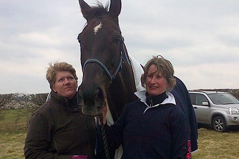 Claire Balding with Denman and Charlotte Alexander at his first team chase