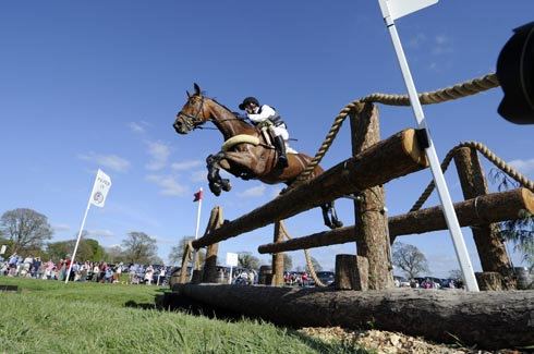 Michael Jung and Sam clear the footbridge at Badminton Horse Trials 2013