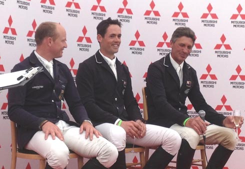 Jock Paget, Michael Jung and Andrew Nicholson at the Badminton Horse Trials 2013 final press conference